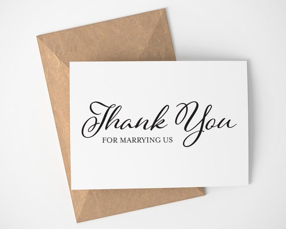 Thank You For Marrying Us | Wedding Day Card - Wedding Card - Officiant - Thanks For Marrying Us - Card - Blank Inside