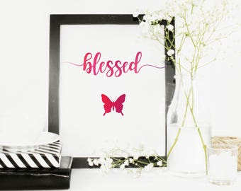Blessed Watercolor With Butterfly