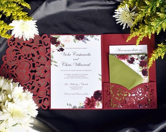 6a9e96d1f55 Burgundy and White Laser Cut Wedding Invitation. Fall Wedding. Custom.   Comely Design