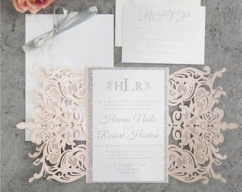 Formal invitation etsy diy blush and silver wedding invitation laser cut invitation quince sweet sixteen formal elegant invitation spring wedding summer solutioingenieria Image collections