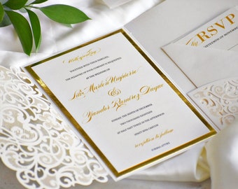 50356bc88492 Gold and Ivory Laser Cut Wedding Invitation. Raised Printing. Whimsical  Wedding. Elegant Invitations.  Eloquence Design
