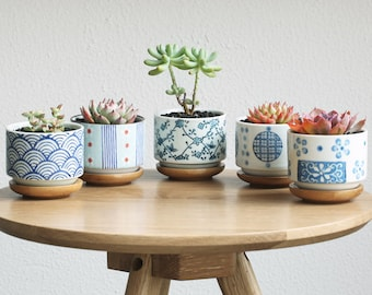 Set of 5 - Japanese Style Ceramic Planters with Bamboo Tray,Succulent Planter,Ceramic Planter,Home Decor,Simple Gift,gift
