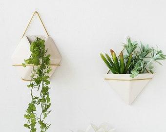 Set Of 2   Simple Wall Hanging Planter, Wall Planter,Ceramic Planter, Succulent Planter,Fairy Garden Decor,Terrarium,Home Decor,Gift Ideas