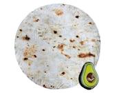 "Premium Burrito Blanket Flour Tortilla Fleece PLUSH Towel 60"" Picnic Blanket  + BONUS Avocado Pin USA Seller"