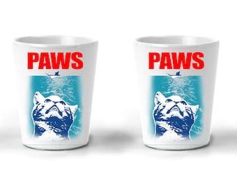 Cat Shot Glasses   Cat Gifts   PAWS Kitten Parody   Gifts For Cats Lovers   Funny Shot Ceramic Gifts For Cat Lovers   2 PACK