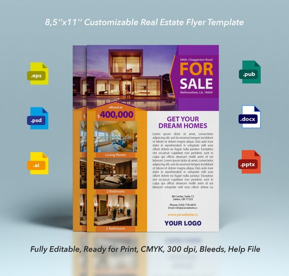 professional real estate flyer design template customizable etsy