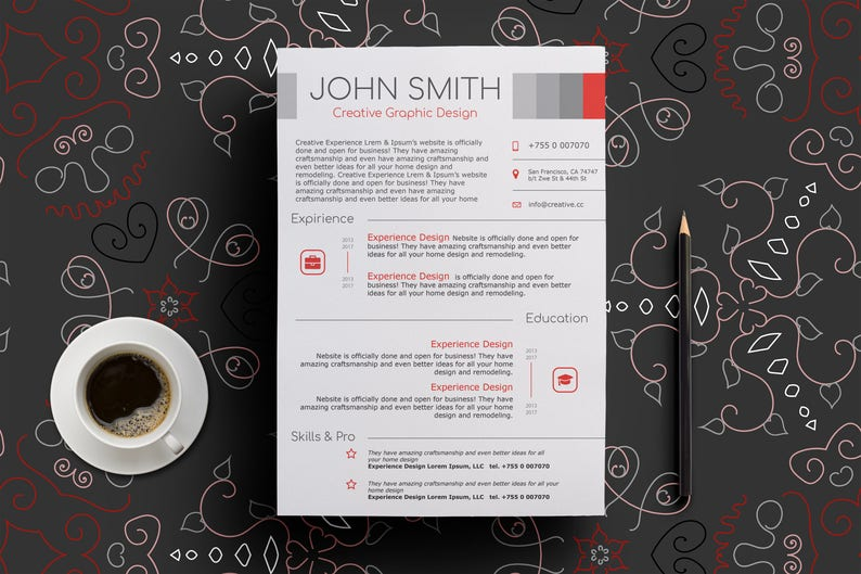 Modern Red and Gray Resume Print Template | Word, Powerpoint, Publisher,  Acrobat, Illustrator | docx, pptx, pub, pdf, ai | BONUS: pattern BG