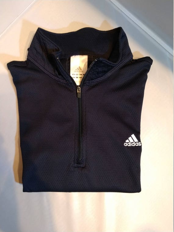 Classic Adidas Polyester LS 14 Zip Running Pullover (M)