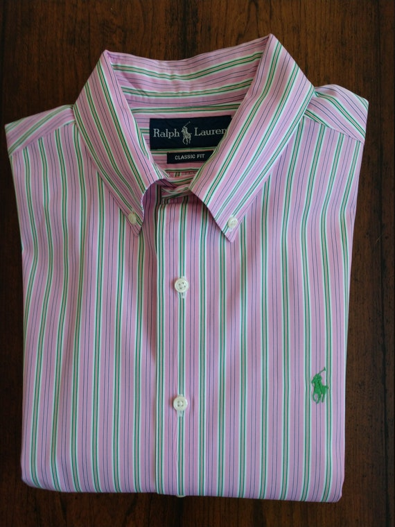 Belle Ralph Lauren Classic Fit chemise robe rayée (M)
