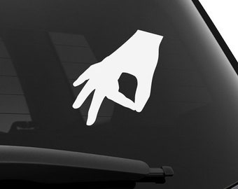 411326d8e3 Gotcha Hand Gesture Circle Game Okay Sign Decal you looked finger prank  funny made you look Gestures Signs The Day