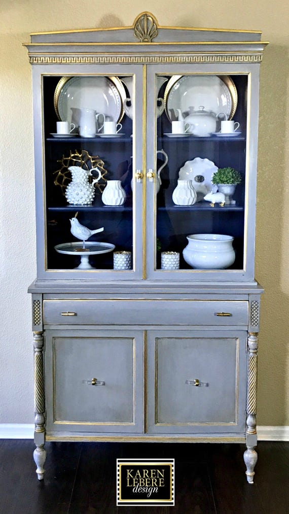 Sold Vintage Hand Painted China Cabinet, French Country China Cabinet
