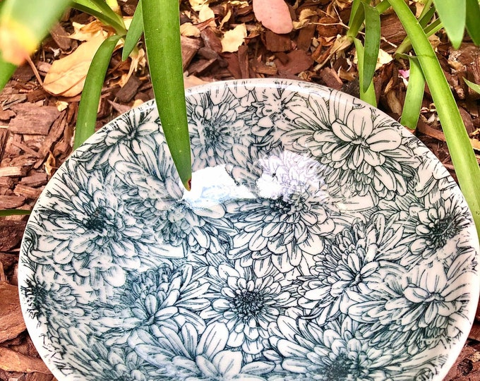"Ceramic Bowl, Serving Bowl, Handmade Bowl, 8"" Bowl, Black & White Bowl, Pottery Dish, Ceramic Dish, Stoneware"