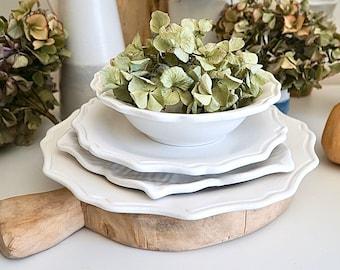 Three piece dinnerware Set, Dinnerware, White Dinnerware, Scalloped Plates, Sunflower Dishes, Dinner Plates, Cottage Dishes, Ceramic Plates