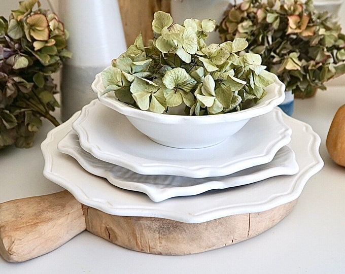Three piece dinnerware Set, Dinnerware, White Dinnerware, Scalloped Plates, Sunflower Dishes, Dinner Plates, Cottage Dishes, Ceramic Plates