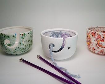 Ceramic Yarn Bowl, Knitting Bowl, knit, crochet, crocheting, yarn, wool, wool bowl, yarn bowl