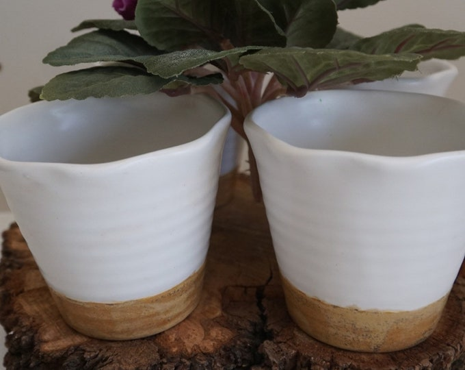 Scalloped Pot, Flower Pot, Candy Dish, Two-tone Pot, Succulent Pot, Small Pot, Medium Pot, Ceramic Pot, Farmhouse Pot, Stackable Pots