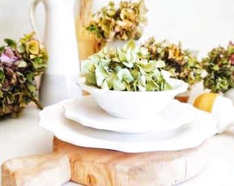 Three piece dinnerware Set, Dinnerware, White Dinnerware, Scalloped Plates, Dinner Plates, Cottage Dishes, Ceramic Plates