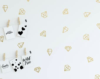 Diamond Wall Decals - Various Styles - Geometric Wall Decals, Metallic Decals, Kids Playroom, Gem Decals, Copper Decals, Gold Wall Decals