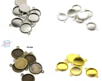 5 cabochon support connectors 25mm silver metal
