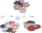 10 faux leather flowers (suede look), assorted colors, different styles to choose from