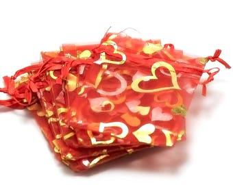 10 small heart/red 65 x 95 mm organza gift bags