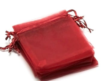 "10 medium bordeaux ""plain"", 120 x 95 mm organza gift bags"