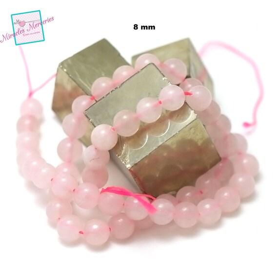 """fil 39cm 49 pcs de quartz rose """"ronde 8 mm"""", pierre naturelle"""