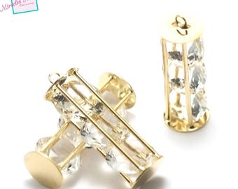 """pendants 1 """"long Crystal cage"""" 45 x 11 mm, gold"""