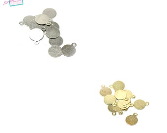 """100 """"sequin"""" charms 8 mm, silver/golden 136"""