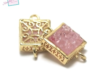 """1 connector gemstone """"pink agate"""" square 16 x 10 x 6 mm, gold"""