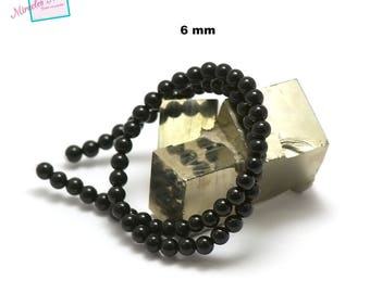 """39 cm thread beads """"6 mm faceted round"""" Onyx, natural stone"""