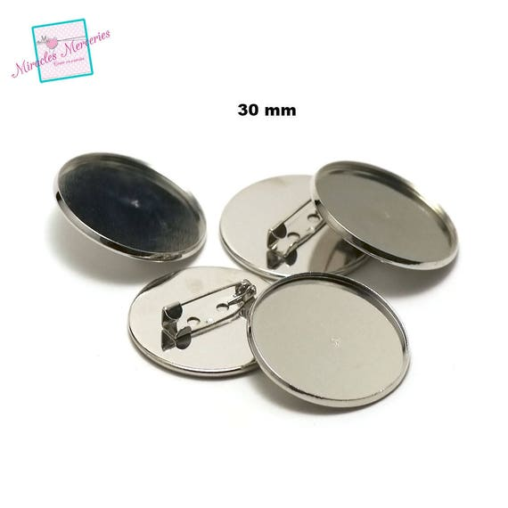 silver  silver light gold  bronze 4 cabochon support pins round 25 mm