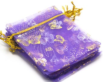 "means 10 purple Organza gift bags ""Butterfly"", 120 x 95 mm"