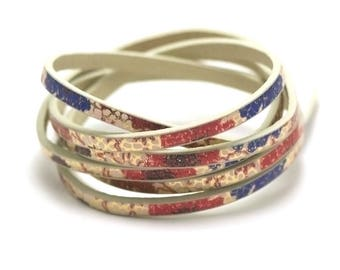"1 m strap leather 5 x 2 mm blue red ""Garden"""