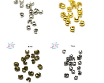 100 pearl cover to crush 3 mm, silver / gold / bronze / gun metal