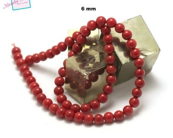 """39 cm thread/Coral Sea bamboo beads """"6 mm round"""", natural stone"""