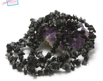 """84 cm approx 440 thread """"chips"""", natural stone snowflake Obsidian beads"""
