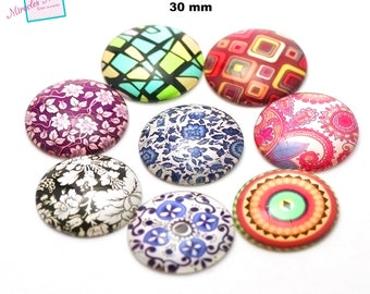 4 cabochons glass dome 30 mm, round, assorted designs