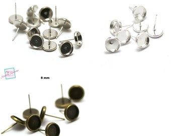 """10 cabochon holder """"round""""8 mm, chip earring, silver /silver light / bronze"""