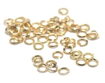 100 split rings, gold, 4mm