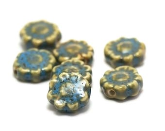 "ceramic beads 4/12 ""flower"" 17 x 17 x 7 mm, blue/yellow"