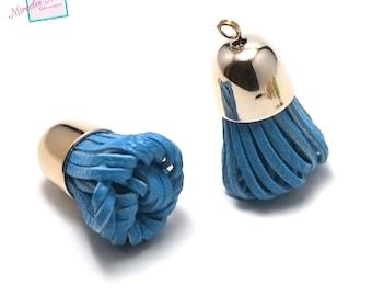 """2 PomPoms 40 x 20 mm, faux leather """"clochette"""" electric blue"""