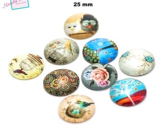 6 cabochons glass dome 25 mm, round, assorted designs