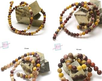 thread 39 cm of round beads of jasper mochaïte in 4/6/8/10/12 mm, natural stone