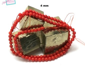 """39 cm thread/Coral Sea bamboo beads """"4 mm round"""", natural stone"""