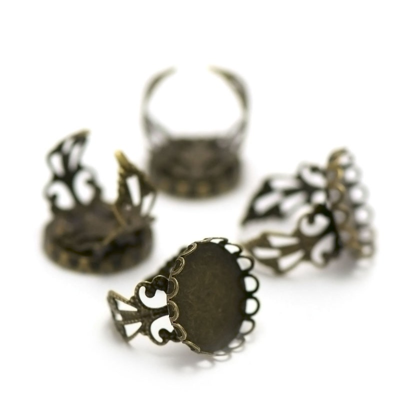 10 supports cabochons ring 18 mm round watermark silverbronze