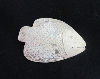 Vintage Big Fish Pin With Etching