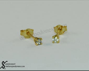 Yellow gold Earrings with cubic zirconia White (unisex)