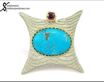 Brooch and pendant with Arizona turquoise and rhodolite garnet