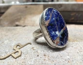 Silver ring with Sodalite